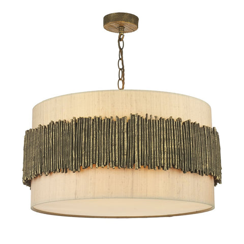 Willow 4 Light Pendant Complete With Taupe Silk Shade & Cotton Diffuser