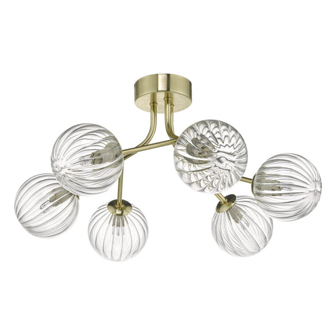 Yiska 6lt Semi Flush Gold & Glass