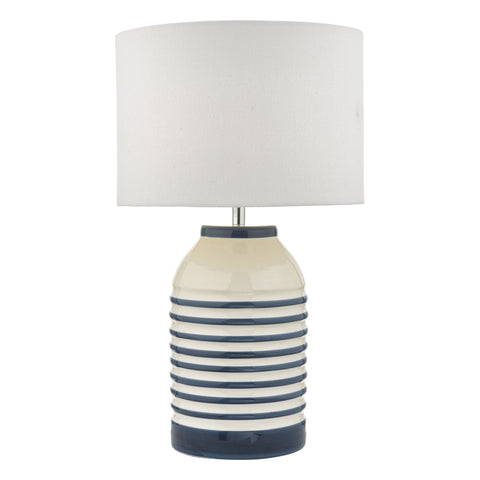 Zabe Table Lamp White & Blue C/W Shade