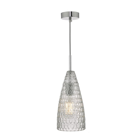 Zuka Pendant Polished Chrome & Textured Glass