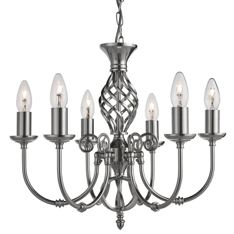 Zanzibar 6 Light Satin Silver Fitting