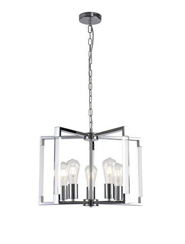 Canto Pendant 5 Light E27 Polished Nickel/Acrylic