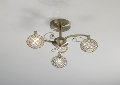 3 Light Cara Antique Brass