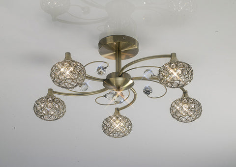 5 Light Cara Antique Brass