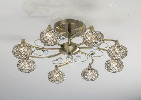 8 Light Cara Antique Brass
