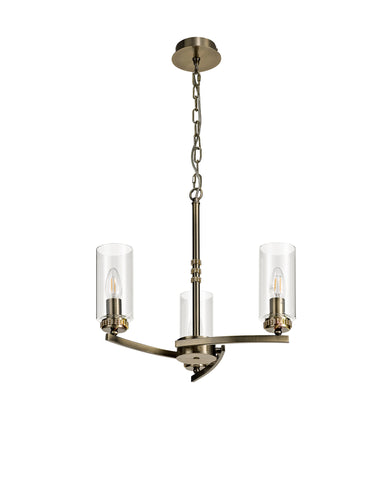 Clara 3lt Pendant - Antique Brass