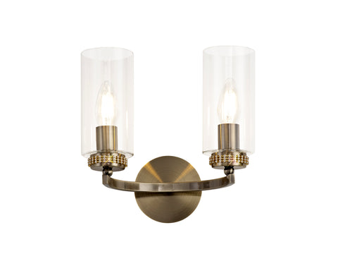 Clara 2lt Wall Lamp - Antique Brass