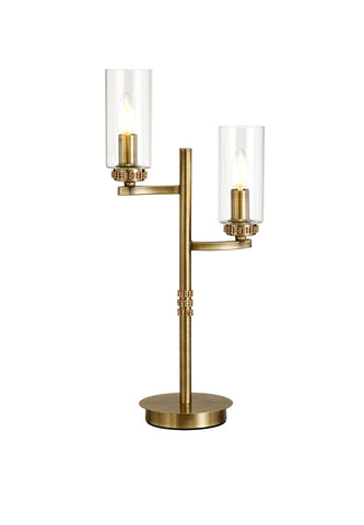 Clara 2lt Table Lamp - Antique Brass