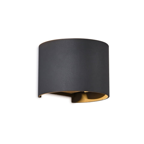 Davos Round Wall Lamp, 12W LED, 3000K, 1100lm, IP54, Anthracite, 3yrs Warranty