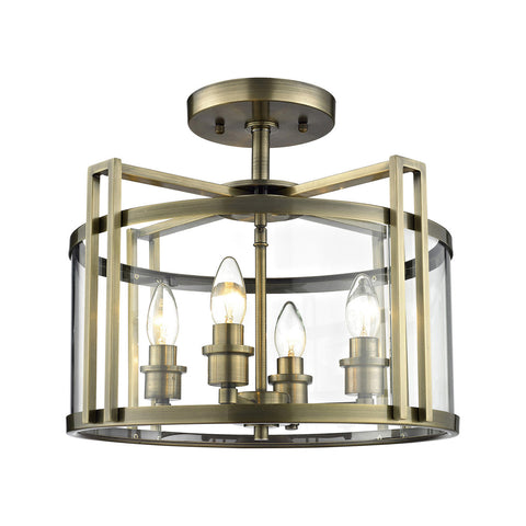Eaton 4lt Semi Flush Ceiling Light - Antique Brass