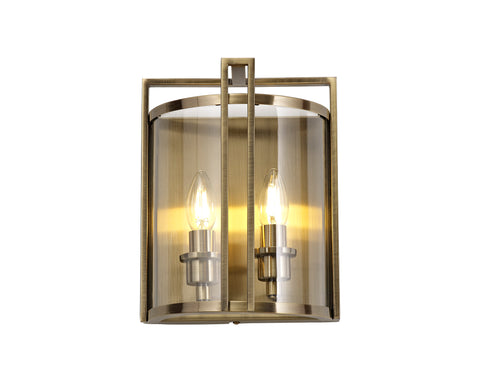 Eaton 2lt Wall Lamp - Antique Brass