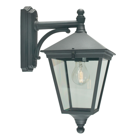 Turin 1 Light Down Wall Lantern – Black