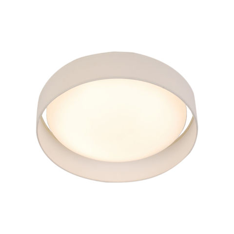 15 WATT 1 LIGHT LED FLUSH FITTING, ACRYLIC DIFFUSER, WHITE FABRIC SHADE