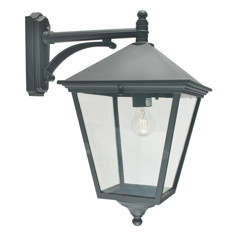 Turin 1 Light Grande Down Wall Lantern – Black