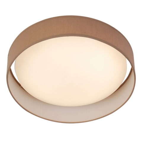 15 WATT 1 LIGHT LED FLUSH FITTING, ACRYLIC DIFFUSER, BROWN FABRIC SHADE