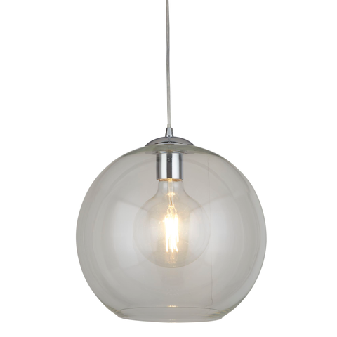 BALLS 1 LIGHT ROUND PENDANT (35CM DIA), CLEAR GLASS, CHROME