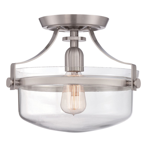 Penn Station 1 Light Semi Flush – Brushed Nickel
