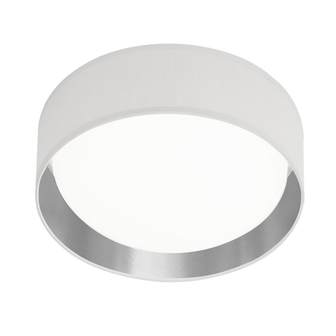 MODERN 1LT LED FLUSH CEILING LIGHT, ACRYLIC, WHITE SHADE/SILVER