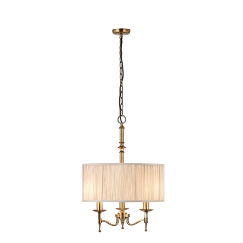 Stanford antique brass 3lt pendant & beige shade