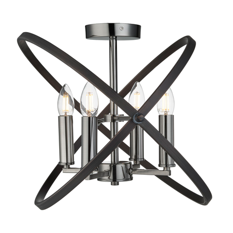 HOOPLA 4LT SEMI FLUSH, PEWTER
