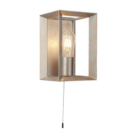 HEATON 1LT WALL LIGHT, BRUSHED SILVER GOLD FINISH