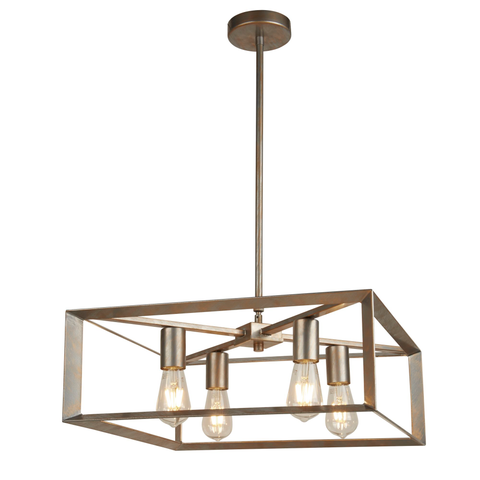 HEATON 4LT PENDANT, BRUSHED SILVER GOLD FINISH