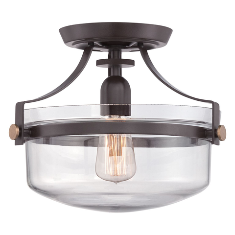 Penn Station 1 Light Semi Flush – Western Bronze