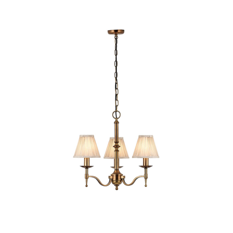 Stanford antique brass 3lt pendant & beige shades 40W