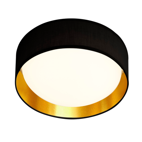 18 WATT 1 LIGHT LED FLUSH FITTING, ACRYLIC DIFFUSER, BLACK FABRIC SHADE/GOLD