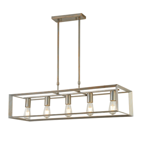 HEATON 5LT OBLONG PENDANT, BRUSHED SILVER GOLD FINISH