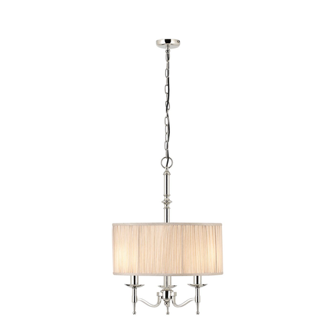 Stanford nickel 3lt pendant & beige shade 40W