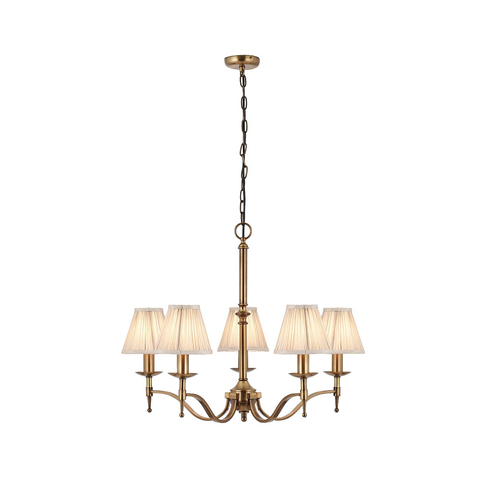 Stanford antique brass 5lt pendant & beige shades 40W