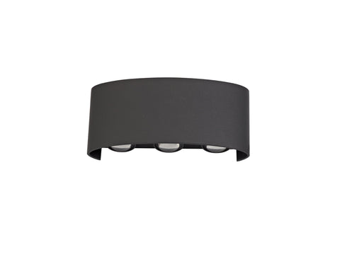 Leoni Up & Downward Lighting Wall Light, 6W LED 3000K, Anthracite, 500lm, IP54, 3yrs Warranty