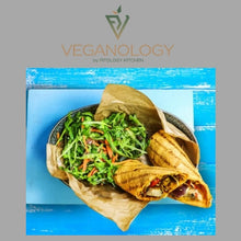 Aubergine & Minted Soya Yogurt Wrap with Parsnip Wedges