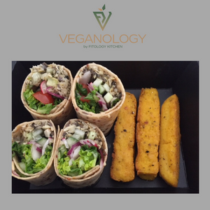Artichoke & Olive Sweet Potato Wrap with Polenta Chips