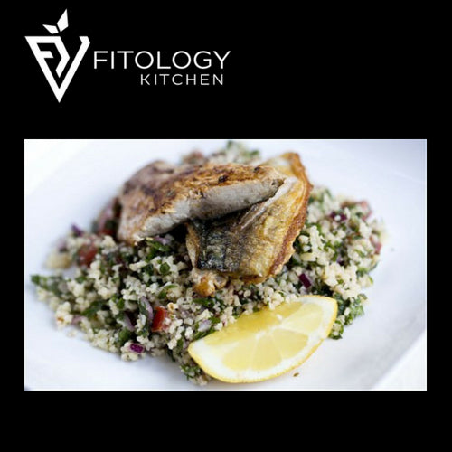 Cajun Mackerel with Barley Tabbouleh
