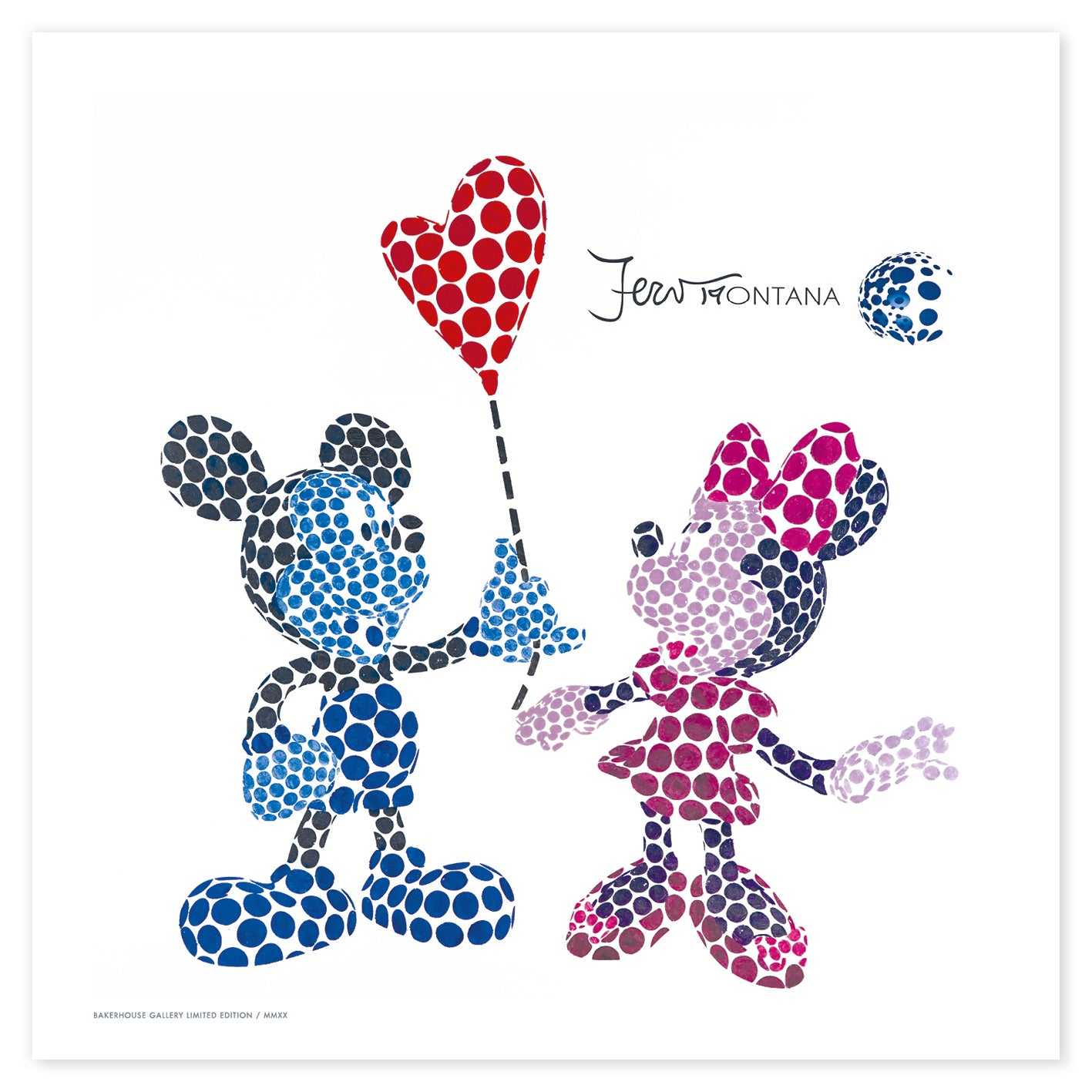 Mickey and Minnie Red Balloon on White