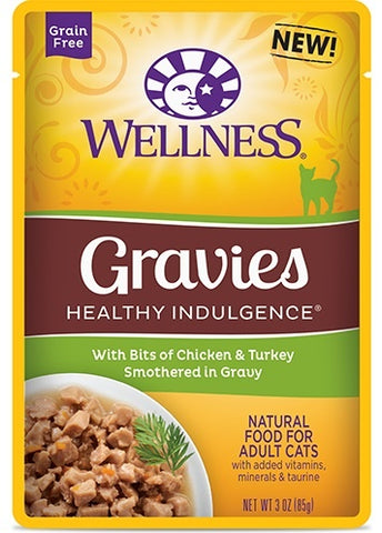 Wellness Healthy Indulgence Natural Grain Free Gravies with Chicken and Turkey in Gravy Cat Food Pouch
