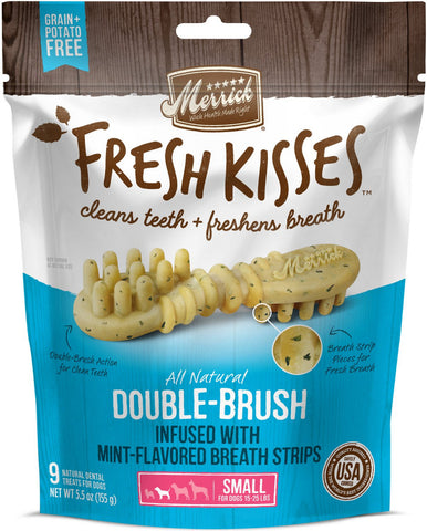 Merrick Fresh Kisses Grain Free Mint Breath Strips Small Dental Dog Treats