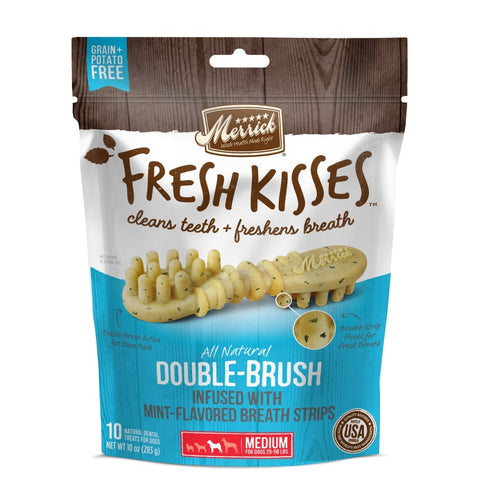 Merrick Fresh Kisses Grain Free Mint Breath Strips Medium Dental Dog Treats