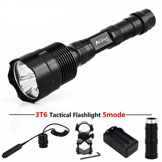 LED Hunting Flashlight Includes Gun Mount, Remote Pressure Switch, & Charger - Unique Deals