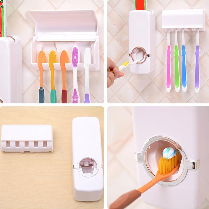 Automatic Toothpaste Dispenser + 5 Toothbrush Holder - Unique Deals