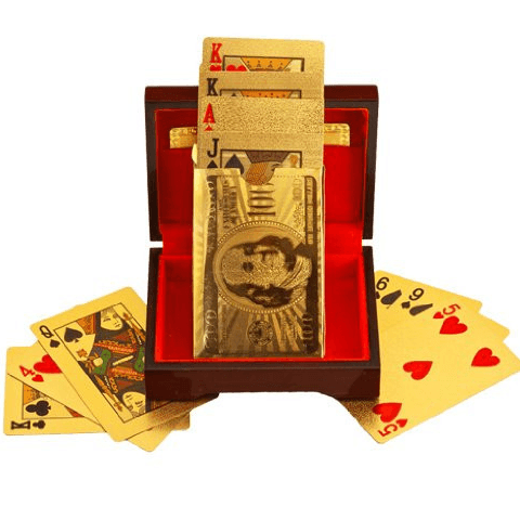24K GOLD-PLATED PLAYING CARDS WITH CASE - Unique Deals