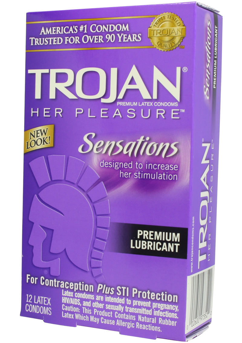 Trojan Her Pleasure Sensations Condom Lubricated 12 Pack
