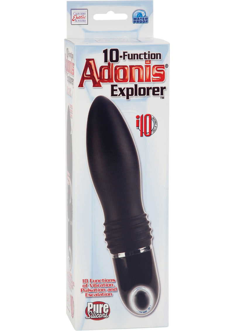 10 Function Adonis Explorer Silicone Massager Waterproof Black 5.5 Inch