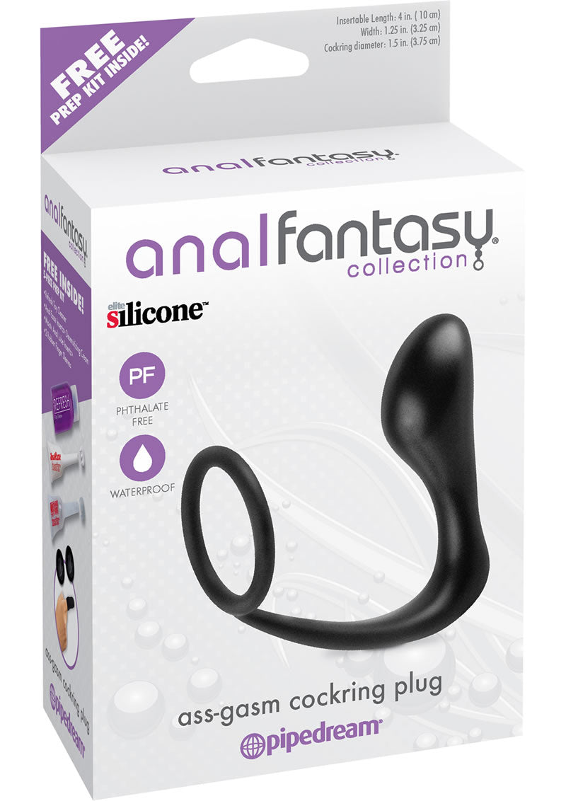 Anal Fantasy Collection Ass-Gasm Cockring Plug Black 4 Inch