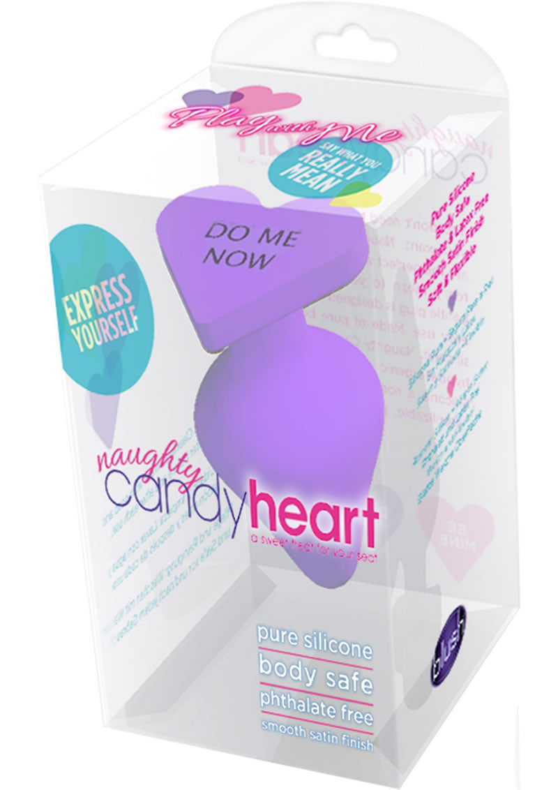 Play With Me Naughty Candy Hearts Silicone Anal Plug Purple 3.5 Inch