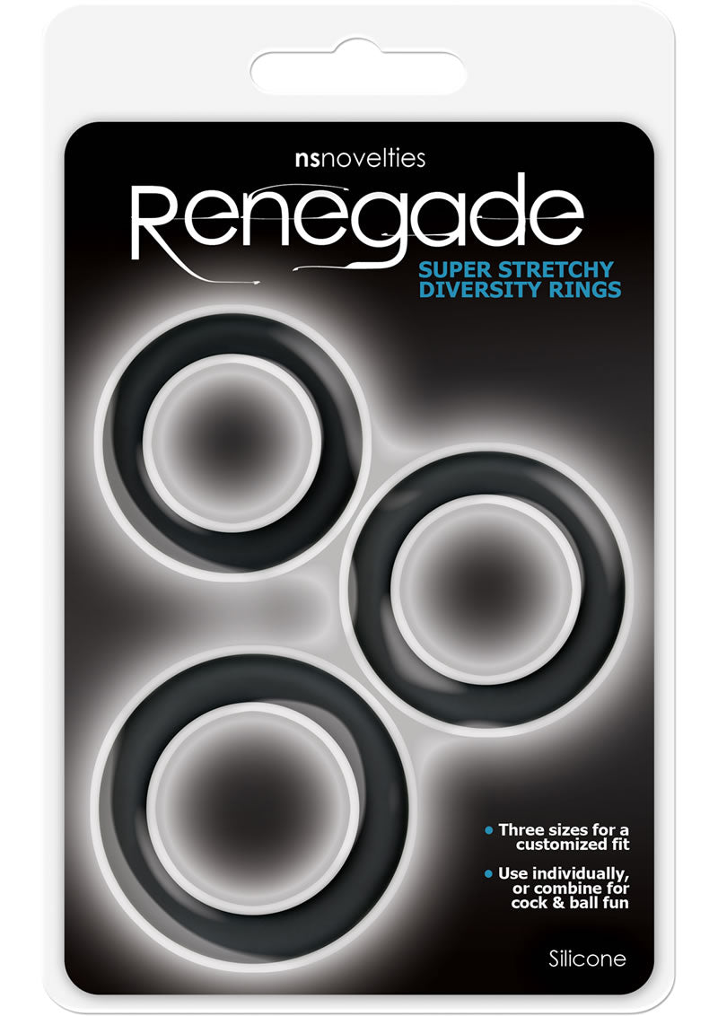 Renegade Diversity Silicone Cock Rings Black