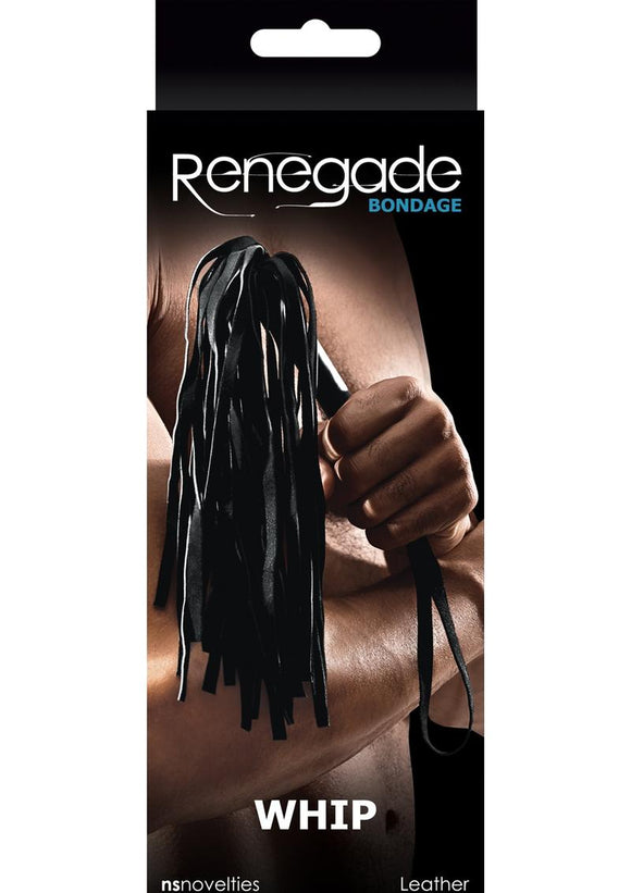 Renegade Bondage Leather Whip Black