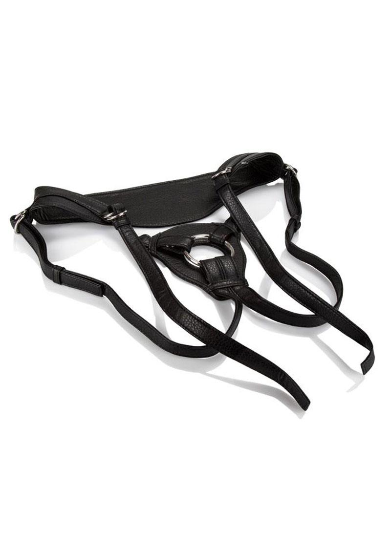 Calexotics Her Royal Harness The Queen Vegan Leather Black